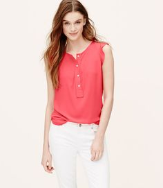 Primary Image of Petite Ruffle Trim Henley Shell