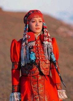 Traditional costume in Mongolia: