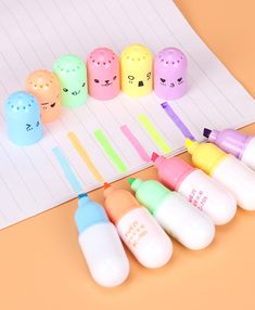 6 PCS Korean Creative Kawaii Mini Smiling Face Pill Highlighter Lovely Cartoon Highlighter Pen for Students Supplies cartoon 6 PCS Korean Creative Kawaii Mini Smiling Face Pill Highlighter Lovely Cartoon Highlighter Pen for Students Supplies Stationary School, Cute Stationary, School Stationery, Kawaii Stationery, Highlighter Pen, Highlighters, Cool School Supplies, Kawaii Pens, Pen Shop