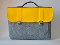 Felt laptop bag 17 MacBook Pro laptop bag with a pocket gray with yellow Common Laptop Bag 17 briefcase