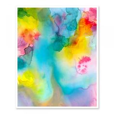 Rainbow connection abstract watercolour art print