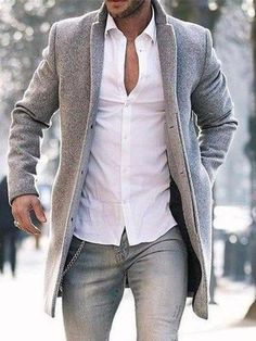 Mid-Length Plain Slim Spring Coat - Best Fashions for All Fashion Night, Winter Fashion, Fashion Hair, Fashion Photo, Fashion Men, Fashion Clothes, Fashion Trends, Fashion Outfits, Stylish Outfits