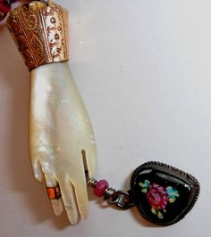 Repurposed Mother of Pearl Victorian Hand Brooch