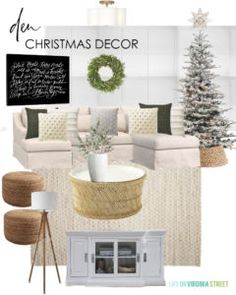 Den Christmas decorating ideas for I love the Silent Night canvas art mixed with the neutral decor and flocked Christmas tree. Christmas Design, Christmas Home, Tartan Christmas, Christmas Quotes, White Christmas, Christmas Ideas, Blue Gray Paint Colors, Diy Mantel, Life On Virginia Street