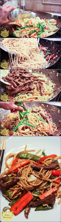 Easy Beef Lo Mein - this quick and easy take-out favorite can be on your family table after work. Step-by-step photos. ♥