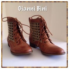 """Gianni Bini Boots SALE Boots have leather and canvas upper. 6.5"""" high. New in box. Gianni Bini Shoes Ankle Boots & Booties"""