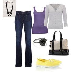 purple and yellow, created by amyceleste07 on Polyvore