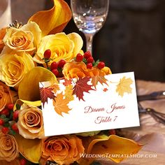 Fall, Autumn, Thanksgiving, Printable Tent Style Place Card Template, You  Edit & Print.