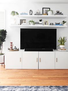 Ideas-For-Living-Room/ above tv decor, shelf above tv, tv wall decor, white Living Room Storage, Living Room Tv, Apartment Living, Home And Living, Tv Stand Ideas For Living Room, Living Room Decor Above Tv, Above Tv Decor, Tv Wall Decor, Shelf Above Tv