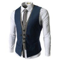 (VE34) TheLees Mens premium Business Casual Layered style Slim wedding Vest BLUE XX-Large(US X-Large) $48.56 #TheLees