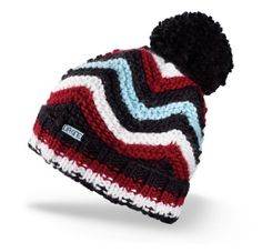 DAKINE Women's Abbey Hand Knit Beanie (Black, One Size). 100% Acrylic. Hand knit single layer with cuff. Worn slouchy or cuffed. Hand wash, line dry, no bleach. China.