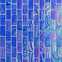 Blue glass tile shower ideas from Tilebar. Upgrade your bathroom backsplash or power room wall with this vibrant, colorful, and one of the perfect tiling option. Glass Tile Shower, Glass Mosaic Tiles, Wall Tiles, Tile Mosaics, Tiling, Tile Art, Irridescent Tile, Iridescent, Splashback Tiles