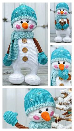 Crochet Amigurumi Free Patterns, Crochet Toys, Free Crochet, Crochet Snowman, Step By Step Crochet, Learn To Crochet, Knitting, Children, Design