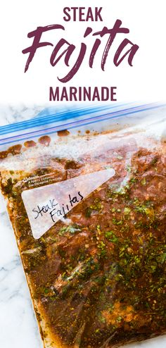 Steak Fajita Marinade - Isabel Eats {Easy Mexican Recipes} - - This Steak Fajita Marinade is made with olive oil, orange juice, lime juice, garlic and flavorful herbs and spices that result in tender and juicy fajitas! Beef Fajita Marinade, Beef Fajita Recipe, Homemade Fajita Seasoning, Steak Marinade Recipes, Beef Fajitas, Marinade Sauce, Mexican Steak Marinade, Marinades For Steak, Steak Marinades