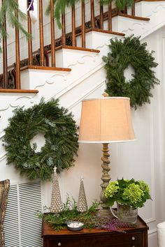 Decorative Wreaths Design Ideas, Pictures, Remodel, and Decor - page 5 Christmas Stairs, Christmas Time, Christmas Ideas, Spite House, Blue Design, Favorite Holiday, Design Inspiration, Design Ideas, Entrance
