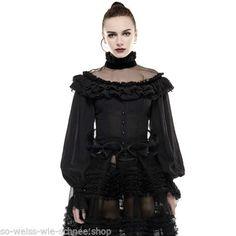 Punk-Rave-Gothic-Lolita-Spitze-Bluse-Shirt-Victorian-Schnuerung-Puffs-Seide-LY054