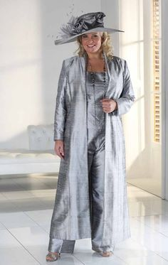Buy Florentyna Dawn Beautiful Tailored Trousers, Camisole and Full Length Silk Coat in Mother of the Bride.