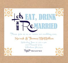 fiesta Vow renewal invitation. Anniversary party invitation. Eat drink and be married. Wedding invitation. Coral and navy.. $0.75, via Etsy.