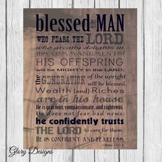 Bible Verse, Father's Day, Scripture art, Psalm 112, Rustic, Wood, Psalms Print, Gift for a man, Scripture printable, Instant Download
