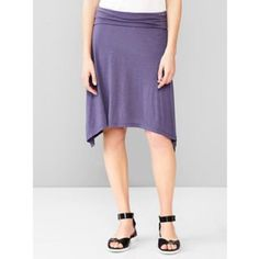 """Gap Foldover Trapeze Skirt 100% rayon. Machine wash. Feels like soft cotton jersey. Side hems longer. Stretchy. Carefree. Shortest length is 21"""". Color is black iris. New with tags. Wide band at waist can be folded. GAP Skirts"""