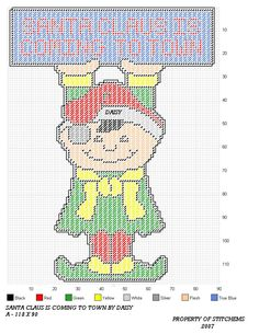 SANTA CLAUS IS COMING TO TOWN by DAISY*STITCHEMS -- ELF WALL HANGING 1/2