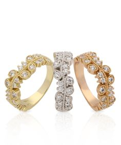 Mastercrafted in yellow, white and rose gold The Vine half eternity ring features delicately crafted leaves embellished by round brilliant cut diamo Diamond Jewelry, Jewelry Rings, Fine Jewelry, Jewellery, Jenna Clifford, Diamond Anniversary Bands, Half Eternity Ring, Best Diamond, Band Rings