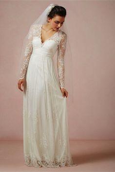 Matural V Neck Long Sleeves Empire Waist Floor Length Lace&Applique Wedding Dress [2015PWedding-0401] - $ 165.99 :
