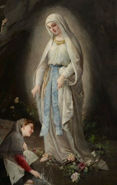 Domenico Tojetti - At Sacred Spring Today, Feb is the feat of Our Lady of Lourdes Catholic Religion, Catholic Art, Catholic Saints, Religious Art, Roman Catholic, Blessed Mother Mary, Blessed Virgin Mary, Virgin Mary Art, Santa Bernadette