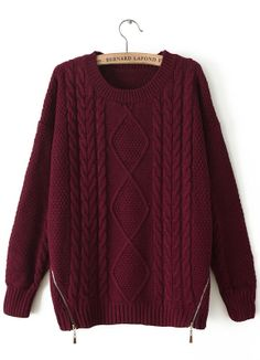 Wine Red Long Sleeve Zipper Loose Cable Knit Sweater RUBp.1083