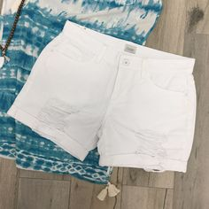 White denim shorts with just the right amount of distress. White Denim Shorts, Distressed Denim Shorts, Catalog, Spring Summer, Stitch, Store, Girls, Clothing, Fun