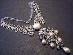 Nettie Rosenstein Rare Couture Sterling, Rhinestones & Faux Pearl Opulent Necklace