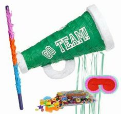 "Green Megaphone Pull String Pinata Party Pack Including Pinata, Pinata Candy and Toy Filler, Buster and Blindfold by Pinata. $38.05. Includes (1) Green Megaphone Pull String Pinata. Includes approximately 2 pounds of Candy and Toys. Caution: not recommended for children under 3 years of age. Includes one hard Plastic Pinata Buster that measures approximately 30"". Caution: use only under adult supervision. Includes one Blindfold with Elastic String. Measures 7""..."