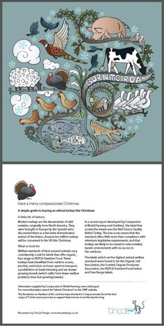 Gorgeous Christmas card design by Ruth Burger to raise awareness for Compassion in World Farming