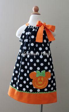 Halloween pumpkin Minnie Mouse pillowcase dress by Valentinasplace