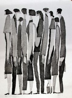 Tetsuo Aoki is a Japanese woodblock printmaker whoseelongatedblack and white figures caught my eye - more work can be seen here.  Found viaDesigners Go To Heaven.