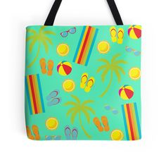 Partytime summer vibe tropical flip-flops, palm trees and cute beach towel graphic print pattern tote bag. Great for taking to the beach or pool party