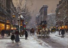 "Painting of the Day (AVAILABLE): Edouard Cortes's ""Porte St. Denis, Winter"" - http://rehs.com/blog/2014/06/painting-of-the-day-available-edouard-cortess-porte-st-denis-winter/"