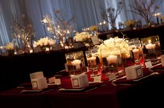 Table Design - Lisa Peterson  red and white devor, Manzanita branch, short centerpieces, floating candles, simple, elegant,
