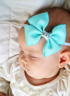 Aqua Blue Grosgrain Ribbon Bow on Skinny Headband (Newborn Headbands, Hair Clip,Baby Headbands, Toddler,Girls)