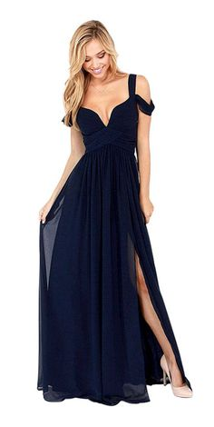 Deep Blue Sweetheart Maxi Dress with Off Shoulder