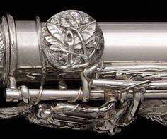 "Week 9.15.2013: John Lunn, our featured maker profile artist of the week! | Dryad's Kiss flute detail | sterling silver flute | 2012 | 2"" x 36"" 