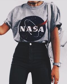 Cute outfits - Nasa graphic tee with high rise black jeans Visit Daily Dress Me at dailydressme com for more inspiration women's fashion fall fashion, winter fashion, casual outfits, school Teen Fashion Outfits, Mode Outfits, Outfits For Teens, Fashion Clothes, Fashion Women, Fashion Fashion, Fashion Dresses, Fashion Spring, Fashion Shirts