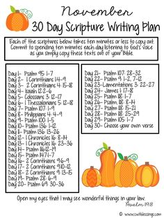 Sweet Blessings: November Scripture Writing Plan
