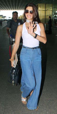 Jacqueline Fernandez at the Mumbai airport.