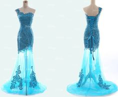 long prom dress blue prom dress lace prom dress by fitdesign, $199.00