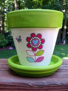 Cute Painted Flower Pots | Children's Flower Pot Garden Kit With Spade,Seeds, and Soil Disk