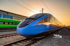 """China on Monday unveiled new, longer Fuxing high-speed trains. The blue-colored green-colored and new stretched Fuxing bullet trains made a stunning appearance in Beijing. High Speed Rail, Speed Training, Qingdao, New Model, Beijing, China, Trains, Bullet, Twitter"