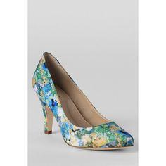 Lands' End Women's Randi Mid Heel Pump Shoes ($40) via Polyvore featuring shoes, pumps, blue, blue heel pumps, blue shoes, lands' end, heel pump and blue pumps