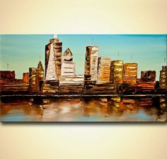 ORIGINAL NYC Abstract City Painting Modern Acrylic by OsnatFineArt