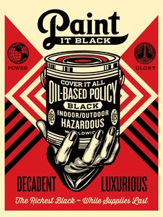 """Paint It Black – Hand"" by Shepard Fairey. 18″ x 24″ Screenprint. Ed of 450 S/N."